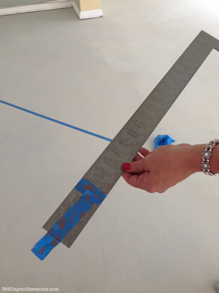 Hand Painted Floors: I taped the measurement on the T-square for ease of measurement.