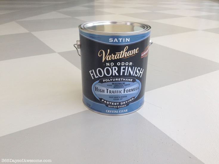 Hand Painted Checkered Floors: I tested a number of water-based, non-toxic sealers. I settled on this Varathane High Traffic Formula in Satin. Perfect!