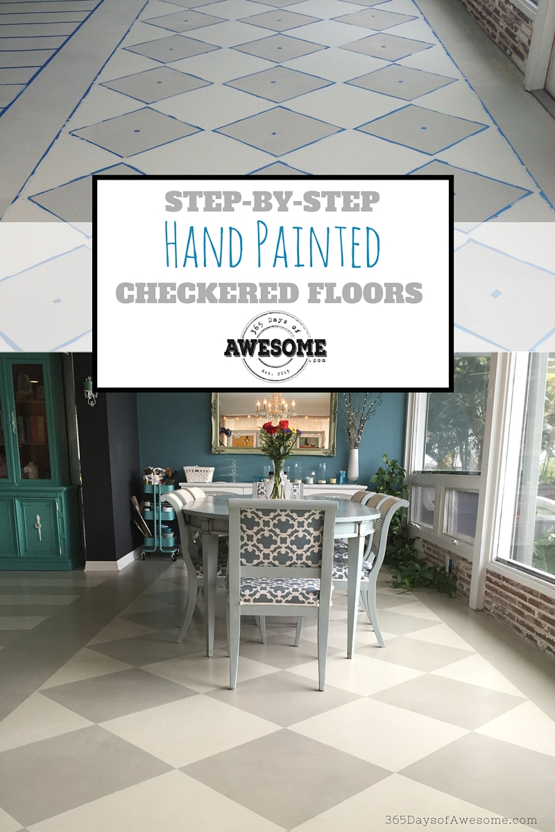 Step-by-step: How I hand painted checkered floors on the diagonal with Annie Sloan Chalk Paint.