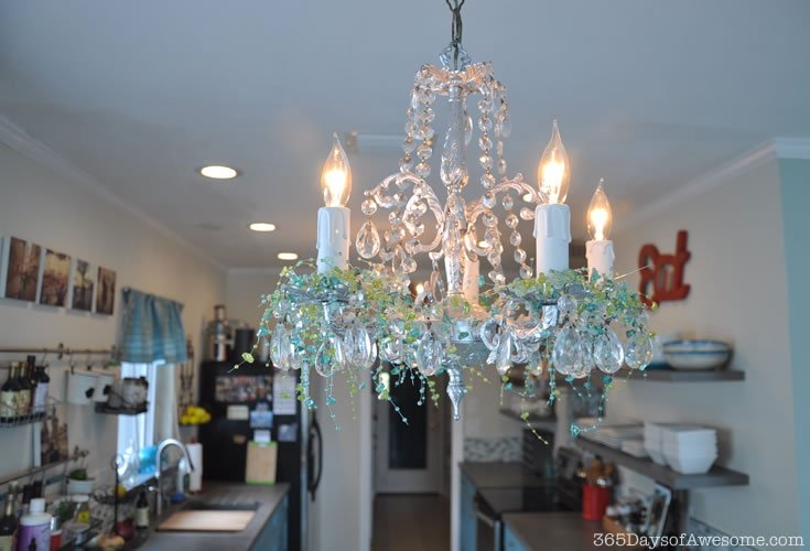 Chandelier makeover with crystals and beads
