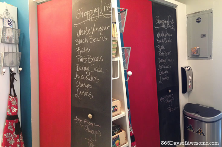 Pantry makeover with chalk board door panel. Painted with Annie Sloan Chalk Paint: Emperor's Silk and Graphite