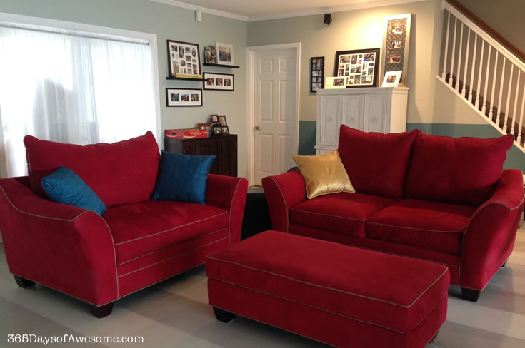 My red sofas with the new paint. It could work, but I didn't love it.