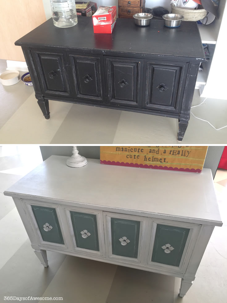 Bench cabinet makeover with Annie Sloan Chalk Paint in Pure White and Duck Egg Blue