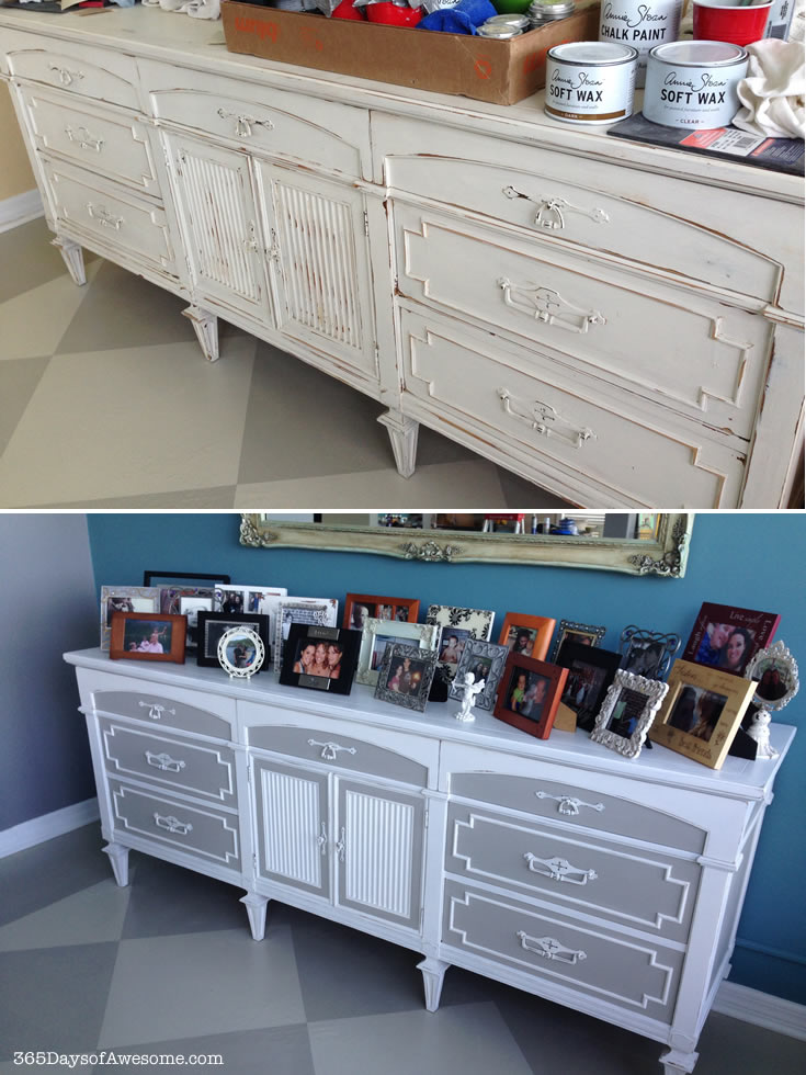 Buffet makeover with Annie Sloan Chalk Paint: Pure White and a mixture of French Linen/Old White 3:1