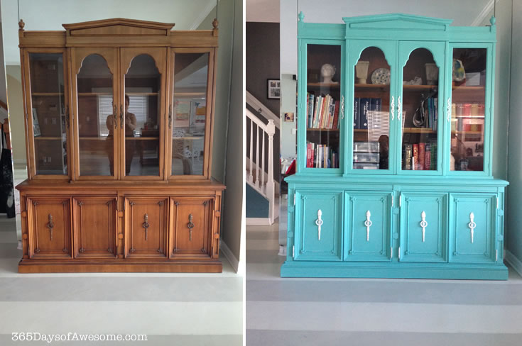 China Hutch Makeover with Annie Sloan Chalk Paint: Custom color Provence/Pure White