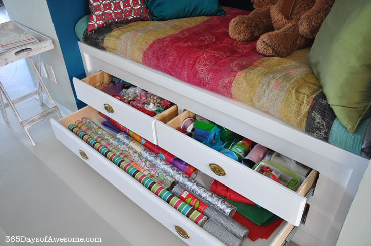 The drawers of the reading nook serve as a gift wrapping station. Everything I need in one place.