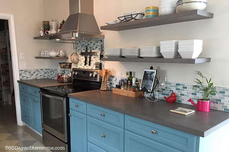 Kitchen after remodel in blues and coastal colors.
