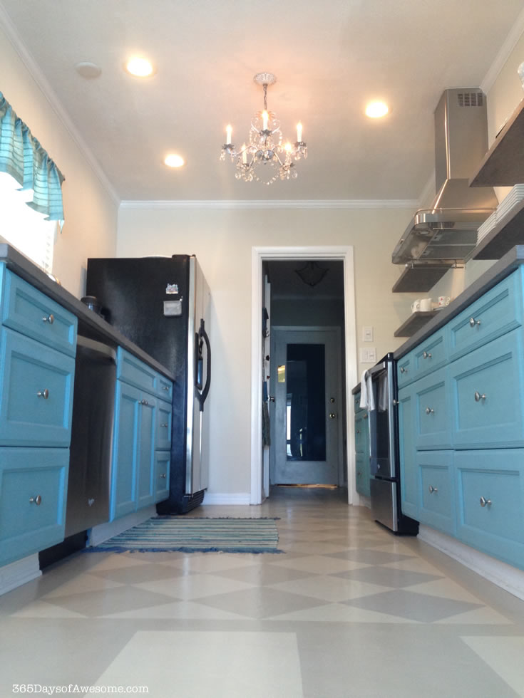 Hand Painted Kitchen Cabinets and Floor