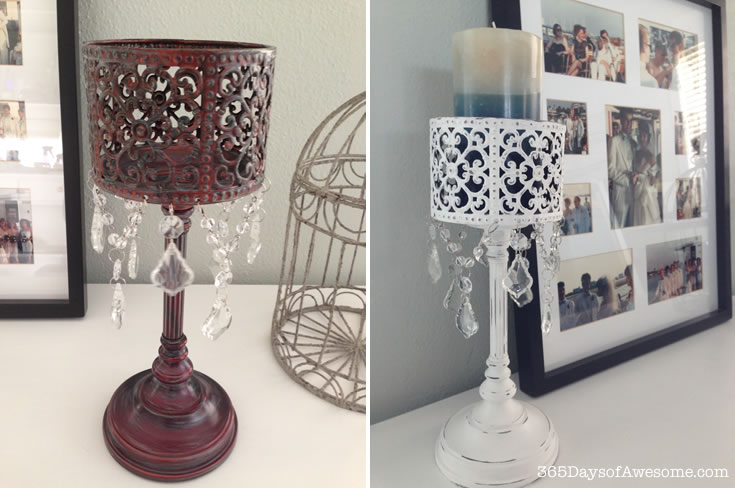 Candle holder makeover with Annie Sloan Chalk Paint: Pure White and then lightly distressed.