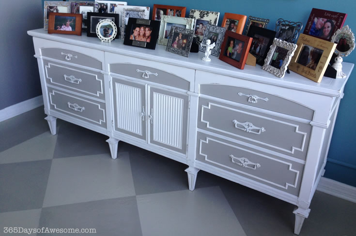 Hand Painted Buffet: Painted with Annie Sloan Chalk Paint in Pure White and French Linen