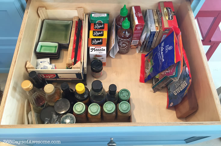 Kitchen Organization: A whole drawer for ethnic foods and spices so that it's easy to prep and cook everything at once.