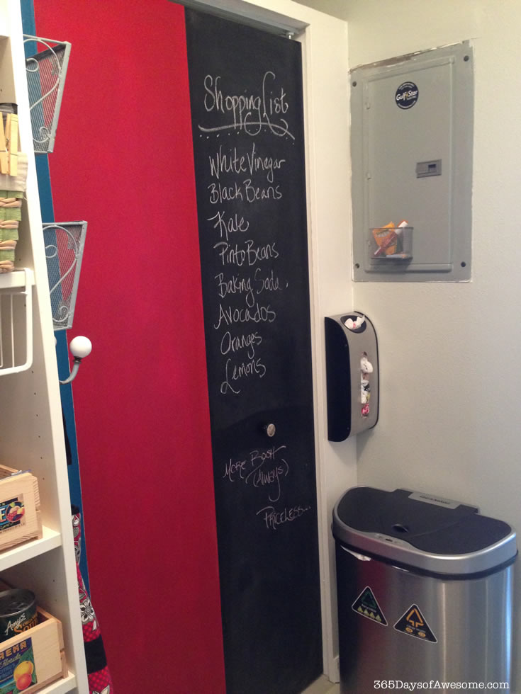 Pantry Door painted with Annie Sloan Chalk Paint: Left panel if Emperor's Silk and Right panel is Graphite and serves as an actual chalkboard.