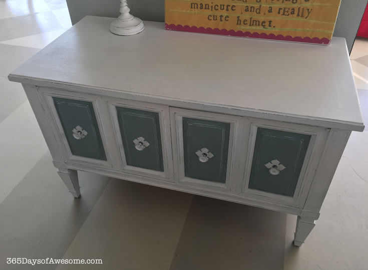 Hand painted small hutch with Annie Sloan Chalk Paint in Pure White and Duck Egg Blue.