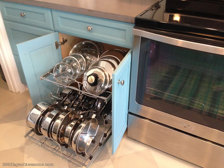 Pot and Pan Storage: A simple cupboard pullout system.